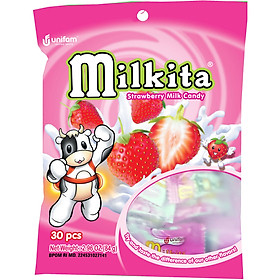 Kẹo viên Milkita hỗn hợp vị Dâu (Bịch 30 viên)