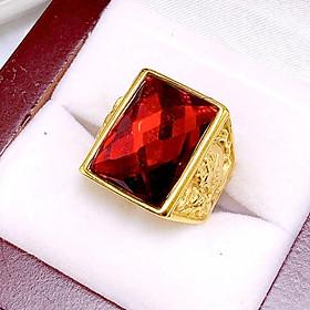 Nhẫn Nam Mạ Vàng 24 K Mẫu N3 Đá Đỏ