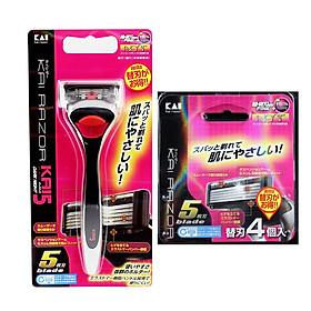 Combo dao cạo 5 lưỡi kép KAI + 4 lưỡi dao thay thế KAI - Tặng 16 khăn giấy bỏ túi hình hoa nội địa Nhật Bản