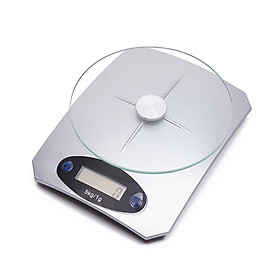 Cân điện tử nhà bếp đế chống trượt, cảm ứng đo chính xác, mặt kính tròn tải trọng 5kg