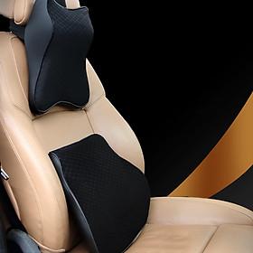 Bộ gối tựa đầu và tựa lưng xe ô tô chất liệu cao su non cao cấp bảo vệ cổ, lưng, cột sống khi lái xe