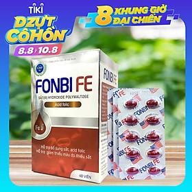 Viên uống bổ sung Sắt III, Acid folic, Vitamin B12 cải thiện tình trạng thiếu máu không gây táo bón FonbiFe dạng vỉ 60 viên