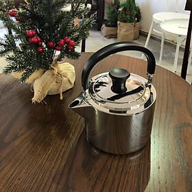 Berndorf Tea Kettle 1.3 lit - Ấm pha trà , ấm pha cafe , Thép không gỉ inox 304 , sử dụng bếp gas , bếp điện , bếp từ an toàn với máy rửa chén - Sản phẩm kèm Lưới Lọc