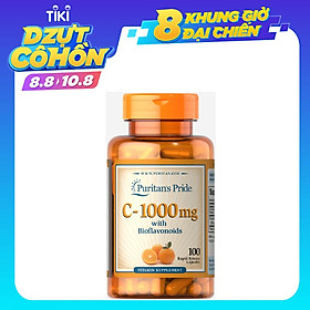 Viên uống tăng sức đề kháng làm đẹp da Puritan's Pride Vitamin C -1000mg with Bioflavonoids & Rose Hips (100 viên)