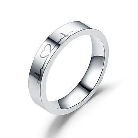 Nhẫn nam nữ hợp kim titan màu bạc, nhẫn đôi biểu tượng tình yêu