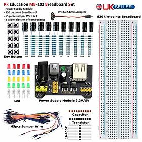 Rk Education Mb102 Breadboard  Psu  Set Free 2.1mm To Pp3 Lead