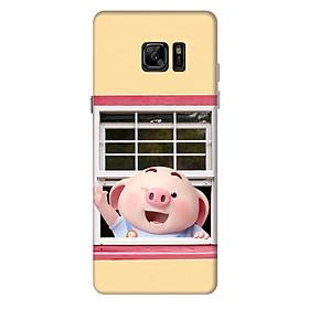 Ốp lưng nhựa cứng nhám dành cho Samsung Galaxy Note FE in hình Heo Con Chào Ngày Mới
