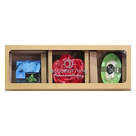 Hộp 3 Xà Bông Thiên Nhiên Handmade Eccomorning SBFC - Hình Vuông hương Bạc Hà + Hình Hoa Hồng + Hình Thuyền hương Trà Xanh (100g/Bánh)