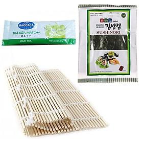 Combo Mành tre làm cơm cuộn, sushi, kimbap + Rong biển cuốn Hàn Quốc (Tặng hồng trà sữa)