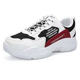 Giày Nam Thể Thao Sneaker Trắng Vải Dệt Đế Cao Su Nguyên Khối Siêu Êm Chân Phối Đen Đỏ Cực Chất Phong Cách Hàn Quốc (Hình thật) CTS-GN052-13