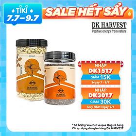 COMBO SIÊU TIẾT KIỆM - 1 Hũ Yến Mạch Cán Mỏng Dk Harvest 450g + 1 Hũ Chia Đen Dk Harvest 500g