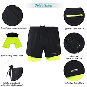 Lixada Men's 2-in-1 Running Shorts Quick Drying Breathable Active Training Exercise Jogging Cycling Shorts with Longer Liner-3
