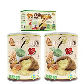 Combo 2 Hộp Bột ngũ cốc dinh dưỡng cao cấp Dr. B-Glucan (Dành cho người ăn kiêng hoặc tiểu đường) - hộp thiếc 750g + Tặng 1 Hộp Giấy 22 Nutrimix - Wheat Grass 250g