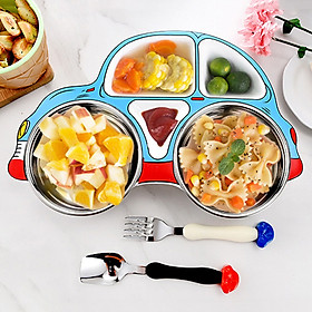 Set khay ăn dặm 3 món hình ô tô cho bé Inox và Nhựa cao cấp Royalcare
