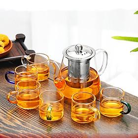 Bộ ấm chén pha trà thủy tinh chịu nhiệt nấu trên bếp