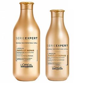 Bộ dầu gội xả phục hồi tóc L'oreal Serie Expert Lipidium Absolut Repair Instant resurfacing 300ml