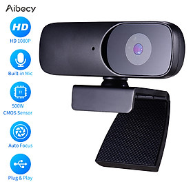 Aibecy Full HD 1080P Webcam CMOS 500W Web Camera with Microphone Support Auto Focus USB Computer Camera Plug and Play