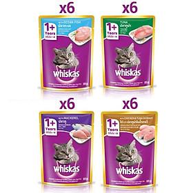 Combo 24 túi mix 4 vị thức ăn pate cho mèo lớn Whiskas 85g/túi