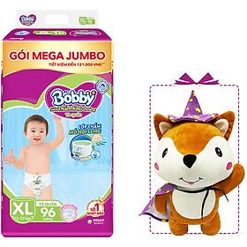 Tã Quần Bobby Đệm Lưng Thấm Mồi Hôi Lưng Mega Jumbo XL96 - Tặng 1 cáo bông xinh xắn