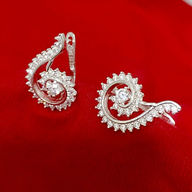 Bông tai nữ Bạc Quang Thản thiết kế kiểu khóa bật đeo sát tai chất liệu bạc 925 đính đá cobic cao cấp phong cách cá tính – QTBT99