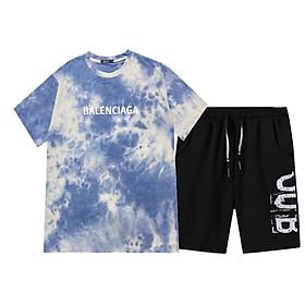 Set Bộ 2 Món Quần Shorts + Áo Thun Nam Nữ Unisex Chất Vải Thun,Đồ bộ mặc nhà chất thun lạnh cá tính, BỘ QUẦN ÁO THỂ THAO BỘ ĐỒ MẶC NHÀ (Loang Balenciaga + Uub)