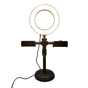 Bộ giá đỡ điện thoại 2 kẹp để bàn kèm đèn led - Hỗ trợ livestream hiệu quả - Hàng chính hãng