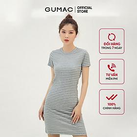 Đầm thun nữ ôm body GUMAC chất liệu sọc ngang, tay ngắn sexy DB303