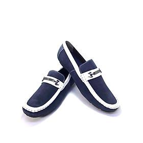 Giày Lười Nam Da Lộn xanh đế âm 011