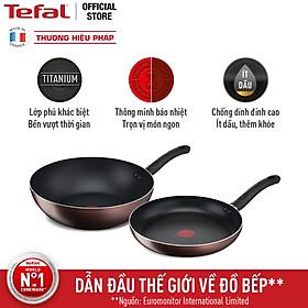 Combo 2 chảo chống dính đáy từ Tefal - Chảo chiên 24cm G1430405 Day By Day & Chảo xào 26cm G1437705 Day By Day - Dùng cho mọi loại bếp - Hàng chính hãng