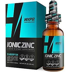 HYPR Ionic Liquid Zinc Drops. Best Advanced Nano Zinc Liquid Vitamin Supplement for Immune Support + Energy. High Bioavailability Triple Distilled and Nanotized for Men and Women