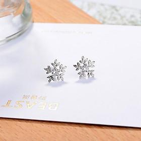 Khuyên tai hoa tuyết bông tai nữ phong cách Hàn Quốc xinh xắn dễ thương tặng ảnh Vcone