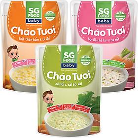 Lốc 3 - Cháo Tươi Baby Sài Gòn Food 240g, Thịt Bằm, Bò, Cá Hồi