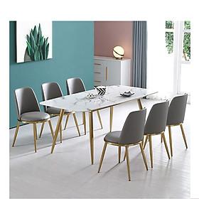 Bộ Bàn Ăn Luxury Mạ Vàng Siêu Phẩm của Năm - Kích Thước 1.6m x 80cm và 6 Ghế (Màu ghế ngẫu nhiên)