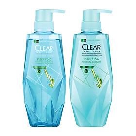 Combo Dầu Gội Và Dầu Xả Clear Làm Sạch Da Đầu Nhờn Và Ngăn Gàu Công Thức Micellar (380ml/Chai)-0