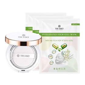 Combo phấn nước che khuyến điểm Truesky tông sáng + 3 mặt nạ dưỡng trắng và chống lão hoá Truesky