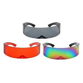3PCS Unisex Futuristic Wrapped Around Sunglasses Robotic Sun Glasses Eyewear