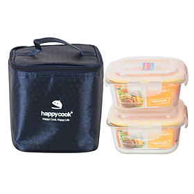 Bộ 2 hộp thủy tinh vuông HappyCook 520ml Kèm Túi Giữ Nhiệt HCG-02SBX