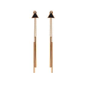 Bông tai tam giác thả 2 tua dài phong cách Hàn Quốc (Tặng kèm mặt nạ thiên nhiên Dermal)