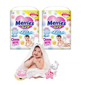 Combo 2 Tã quần Merries M58 tặng khăn tắm sợi tre hình thỏ đáng yêu và đồ chơi tắm Toys House-0