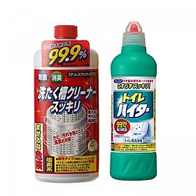 Combo Nước tẩy vệ sinh lồng máy giặt Rocket + Chai tẩy rửa bồn cầu Toilet Haiter KAO 500ml nội địa Nhật Bản