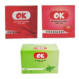 Hình đại diện sản phẩm Bao cao su OK - Hương Bạc Hà, Dâu Tây, Không mùi - Combo 3 hộp 9 bao
