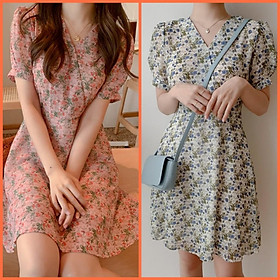 Đầm nữ đi chơi dự tiệc hoa nhí tay ngắn chất vải voan lụa mềm xanh hồng trắng