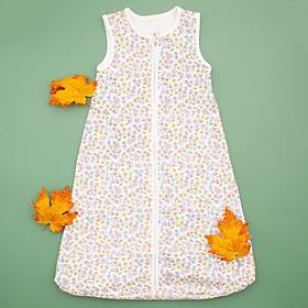 Túi ngủ 3 lỗ chất cotton kéo khóa hình hoa nhí cho bé