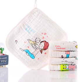 Set 5 khăn mặt xô 6 lớp sợi tre cho bé