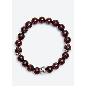 Vòng tay ngọc hồng lựu phối hình trụ Ngọc Quý Gemstones