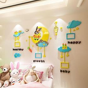 Tranh dán tường mica 3D - thỏ mặt trăng, trang trí mầm non, trang trí khu vui chơi trẻ em