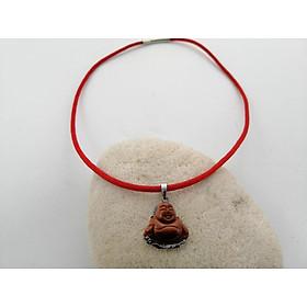 Dây chuyền Phật Di Lặc đá nam nữ dù thái đỏ chốt inox thời trang mang đến may mắn, tài lộc, bình an