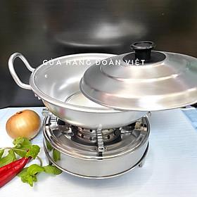 COMBO Bộ NỒI LẨU + BẾP CỒN Size24 - Bộ Nồi Lẩu NHÔM Bếp INOX. Dụng cụ bộ NỒI LẨU BẾP CỒN dùng chuyên nghiệp cho QUÁN ĂN NHÀ HÀNG