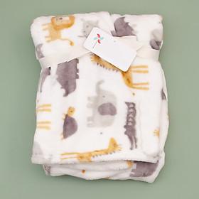 khăn chăn màu trắng họa tiết thú cho bé