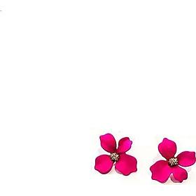 Đôi bông tai hình hoa đính đá phong cách hiện đại, thời trang